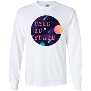Take Up Space Classic Fit Long Sleeve Cotton T-Shirt in White from AllGo's merch store featuring plus size statement apparel and more