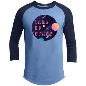Take Up Space Classic Fit Raglan 3/4 Sleeve T-Shirt-T-Shirts-Carolina Blue/Navy-XS-AllGo
