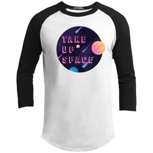 Take Up Space Classic Fit Raglan 3/4 Sleeve T-Shirt-T-Shirts-White/Black-XS-AllGo