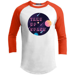 Take Up Space Classic Fit Raglan 3/4 Sleeve T-Shirt-T-Shirts-White/Deep Orange-XS-AllGo