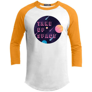 Take Up Space Classic Fit Raglan 3/4 Sleeve T-Shirt-T-Shirts-White/Gold-XS-AllGo