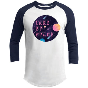 Take Up Space Classic Fit Raglan 3/4 Sleeve T-Shirt-T-Shirts-White/Navy-XS-AllGo