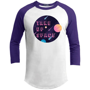 Take Up Space Classic Fit Raglan 3/4 Sleeve T-Shirt-T-Shirts-White/Purple-XS-AllGo