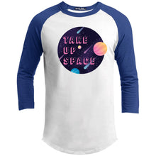 Load image into Gallery viewer, Take Up Space Classic Fit Raglan 3/4 Sleeve T-Shirt-T-Shirts-White/Royal-XS-AllGo