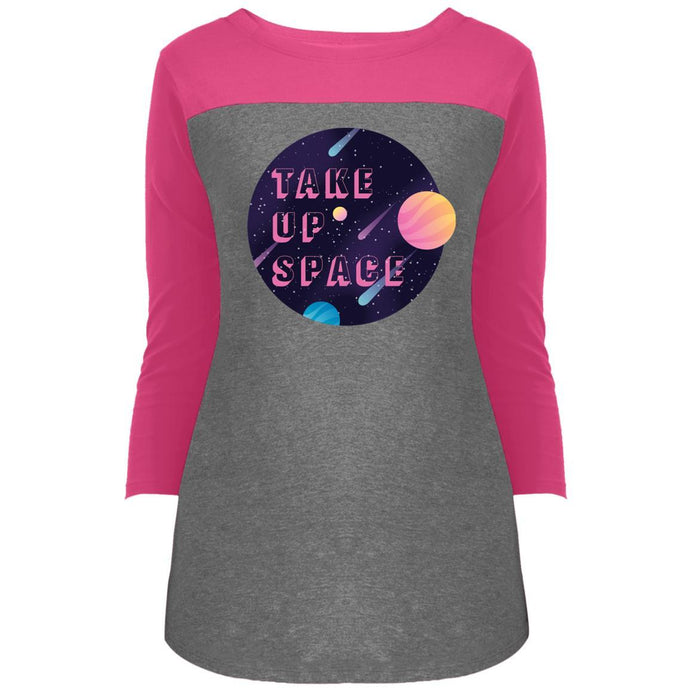 Take Up Space Fitted Colorblock 3/4 Sleeve Long Length T-Shirt in Dark Fuchsia/Grey Frost from AllGo's merch store featuring plus size statement apparel and more