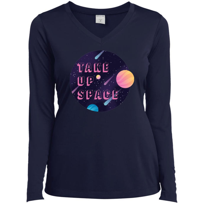 Take Up Space Fitted Long Sleeve T-Shirt in True Navy from AllGo's merch store featuring plus size statement apparel and more