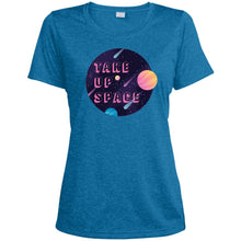 Load image into Gallery viewer, Take Up Space Fitted Moisture-Wicking T-Shirt in Blue Wake Heather from AllGo's merch store featuring plus size statement apparel and more
