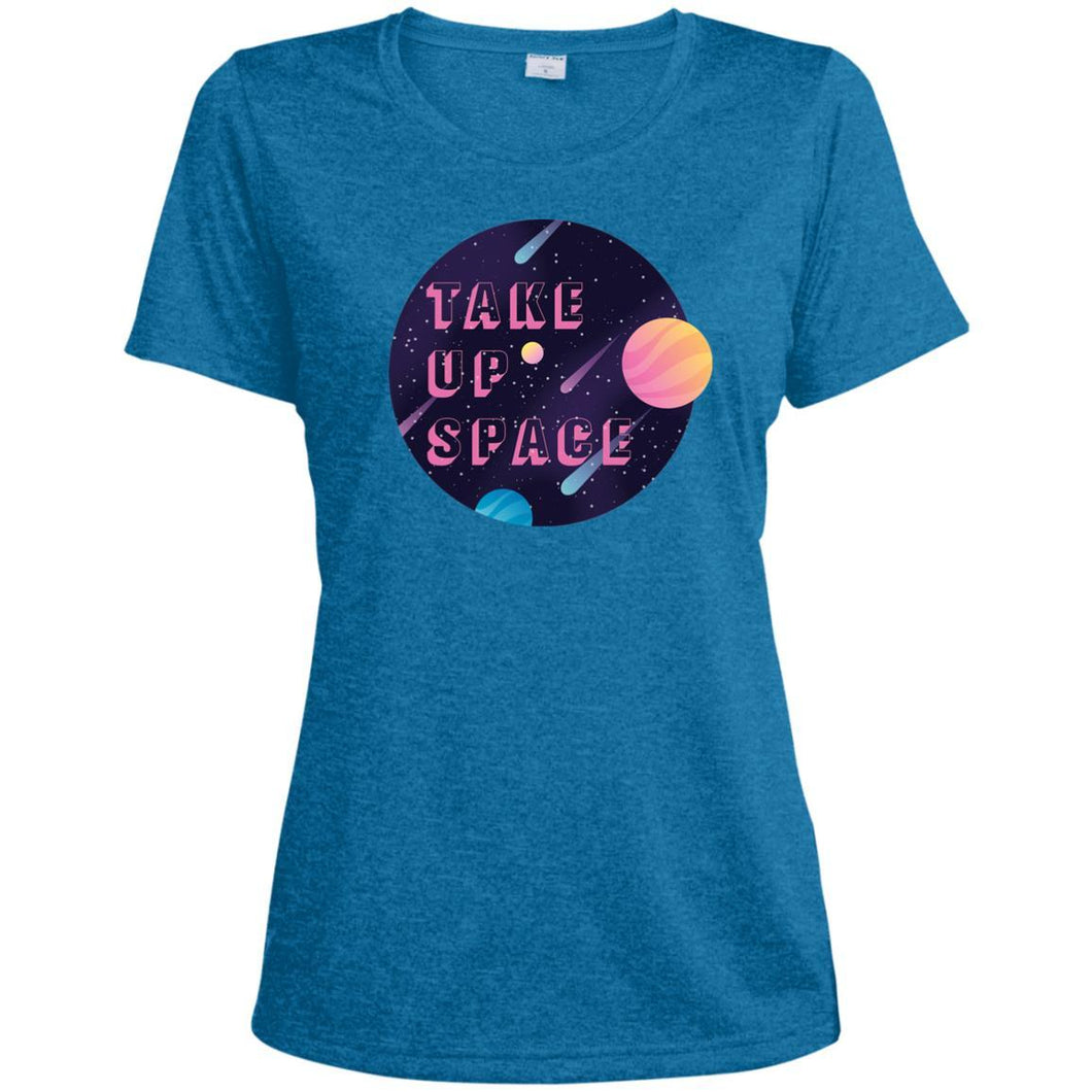 Take Up Space Fitted Moisture-Wicking T-Shirt in Blue Wake Heather from AllGo's merch store featuring plus size statement apparel and more