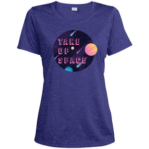 Take Up Space Fitted Moisture-Wicking T-Shirt in Cobalt Heather from AllGo's merch store featuring plus size statement apparel and more