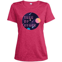 Load image into Gallery viewer, Take Up Space Fitted Moisture-Wicking T-Shirt in Pink Raspberry Heather from AllGo's merch store featuring plus size statement apparel and more