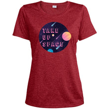 Load image into Gallery viewer, Take Up Space Fitted Moisture-Wicking T-Shirt in Scarlet Heather from AllGo's merch store featuring plus size statement apparel and more