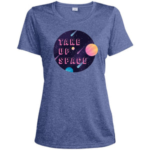 Take Up Space Fitted Moisture-Wicking T-Shirt in True Royal Heather from AllGo's merch store featuring plus size statement apparel and more