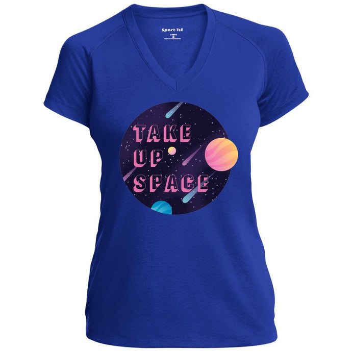 Take Up Space Fitted V-Neck T-Shirt in True Royal from AllGo's merch store featuring plus size statement apparel and more