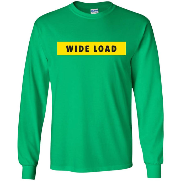 W I D E L O A D Classic Fit Long Sleeve Cotton T-Shirt in Irish Green from AllGo's merch store featuring plus size statement apparel and more