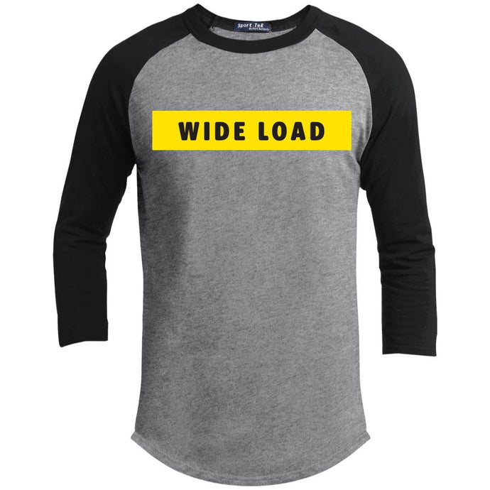 W I D E L O A D Classic Fit Raglan 3/4 Sleeve T-Shirt in Heather Grey/Black from AllGo's merch store featuring plus size statement apparel and more