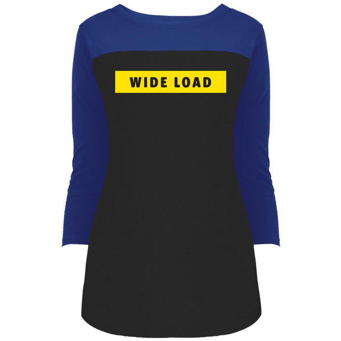 W I D E L O A D Fitted Colorblock 3/4 Sleeve Long Length T-Shirt in Deep Royal/Black from AllGo's merch store featuring plus size statement apparel and more