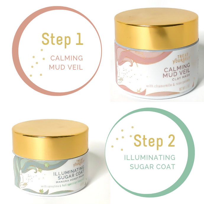 calming mud veil illuminating sugar coat face mask duo