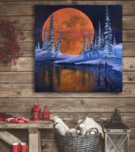 Romantic Snowy Winter Stretched Canvas Print, Moon, Skating, Ready to Hang Wall Art Decor for Home, Office or Ski Cabin, Free Shipping USA