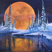 Original Ice Skating Painting, Romantic Moon Snow Landscape Picture, Shadow Box Frame Option, Home or Office Wall Art, Free Shipping USA!