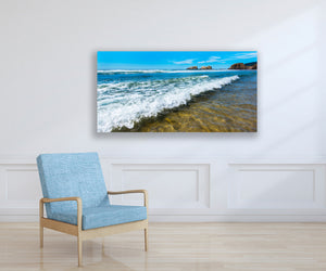 Ocean Beach Wave Photography Print,  Oregon Coast, Ready to Hang Metal Wall Art for Home or Office Picture Decor, Free shipping in USA