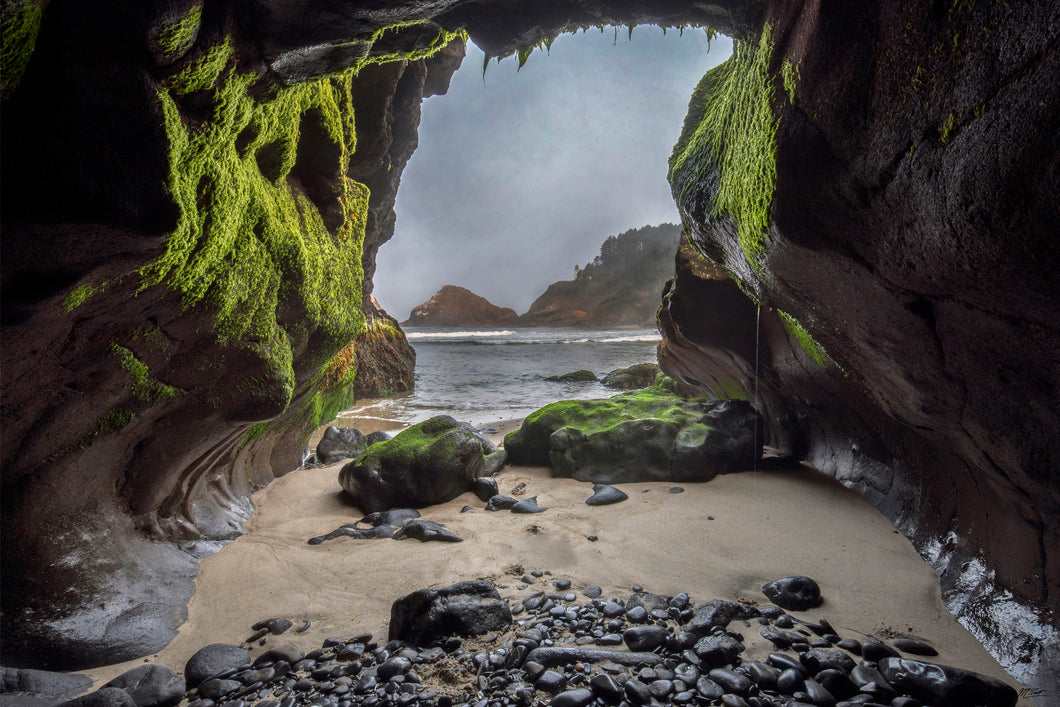 Ocean Beach Cave Photo, High Quality Metal Wall Art Print, Ready to Hang Home or Office Picture Decor,  Zen Decor, Free Shipping in USA.