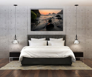 Ocean Beach Sunset Photo, High Quality Metal Wall Art Print, Ready to Hang Home or Office Picture Decor,  Zen Decor, Free Shipping in USA.