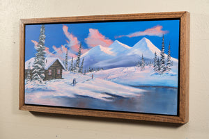 Original Winter Ski Cabin Painting, Romantic Full Moon Snow Scene, Oak Shadow Box Frame, Home or Office Picture Decor, Free Shipping USA!