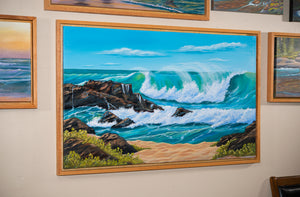 Original Hawaii Beach Painting, North Shore Oahu Seascape , Oak Shadow Box Frame, Home or Office Wall Picture Decor, Free Shipping USA!