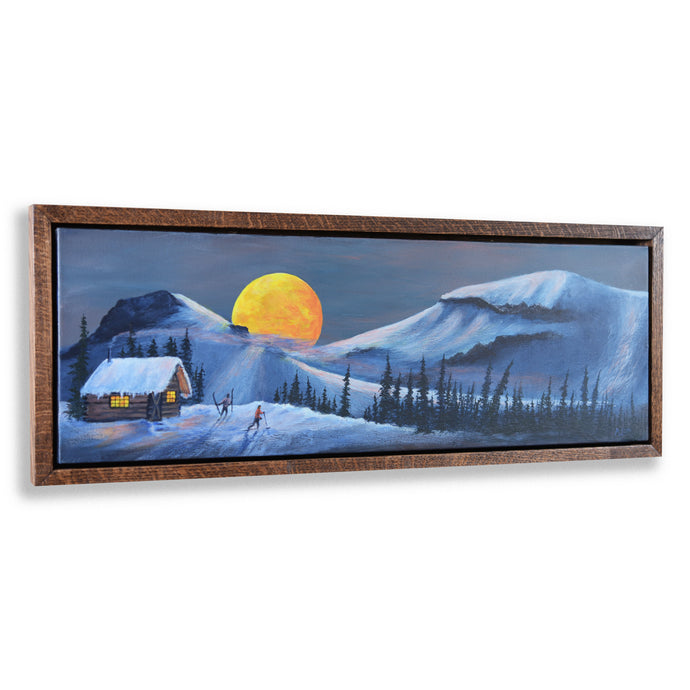 Original Nordic Ski Painting, Romantic Full Moon Snow Landscape, Oak Shadow Box Frame, Home or Office Wall Picture Decor, Free Shipping USA!