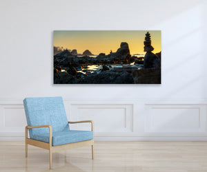 Ocean Beach Sunset Photography Print,  Oregon Coast, Ready to Hang Metal Wall Art for Home or Office Picture Decor, Free shipping in USA