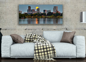 Iconic Denver City Skyline Moonrise Photo, High Quality Metal Wall Art Print, Ready to Hang Home or Office Picture Decor, Free Shipping USA