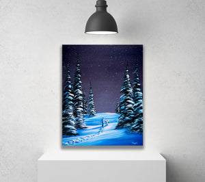 Snowy Winter Adventure Stretched Canvas Print, Ready to Hang Wall Art Decor for Children's Nursery Room or Mountain Cabin, Free Shipping USA