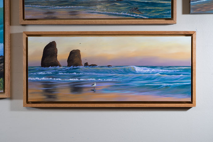 Original Sunset Beach Painting, Cannon Beach, Oregon Seascape , Oak Shadow Box Frame, Home or Office Wall Picture Decor, Free Shipping USA!