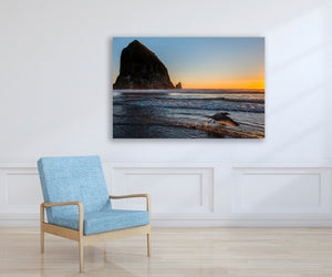 Oregon Coast Sunset Photography Print, Zen Ocean Seagull Metal Art Print for Beach House, Home or Office Picture Decor, Free Shipping USA