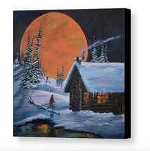 Premium Stretched Canvas Print, Snowy Winter Night Ski Cabin,  Museum/Gallery Wrap Giclee, Ready to Hang Wall Decor.  Free Shipping in USA