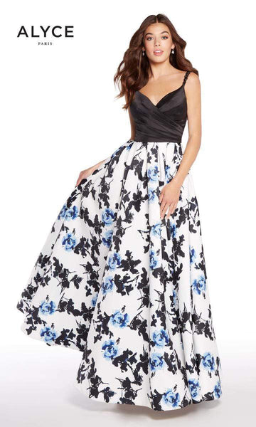 ALYCE Dress 6 / Black-Blue Print 60174