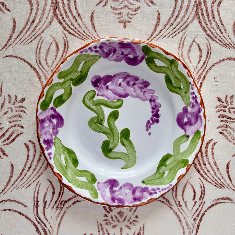 "Pair of Hand-Painted Ceramic ""Lilac"" Salad Plates"
