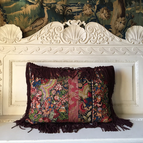Madeleine, Antique Needlepoint and Patchwork Vintage Textile Embroidered Cushion