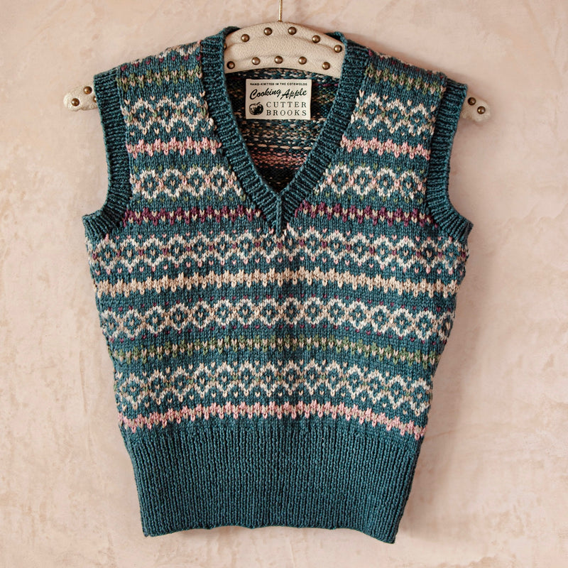 Hand Knitted Fair Isle Vest, Cotton