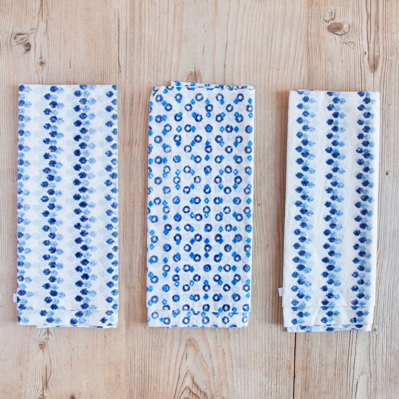 Block Print Napkins, Navy Lapis Slate, Set of 6