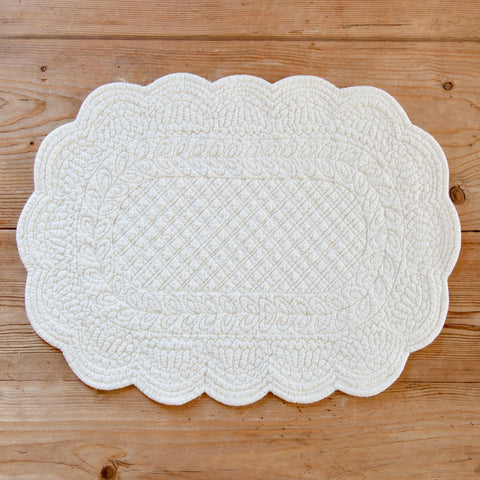 Embroidered Cotton Oval Placemat (Ivory)