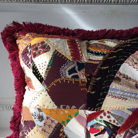 Colombier, Patchwork Embroidery Cushion