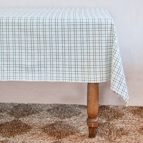 Harbor Plaid Woven Tablecloth, Green