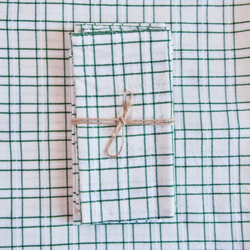 Set of 4 Woven Napkin, Open Plaid, Green