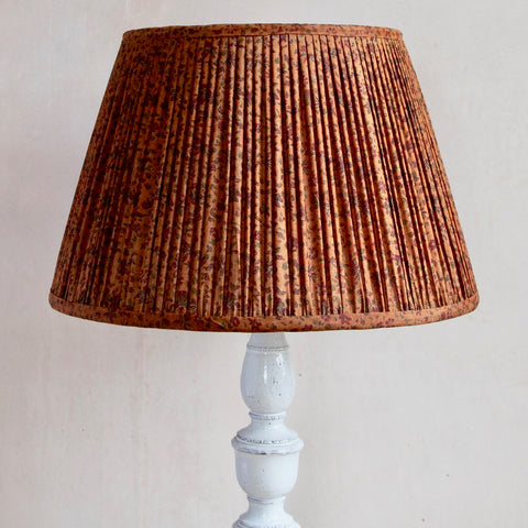 Brown Sari Gathered Lampshade