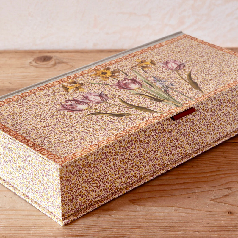 Mixed Spring Bulb Decoupage Box with Hinged Lid