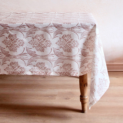Hand-Dyed Linen Tablecloth, Wildflower Brown