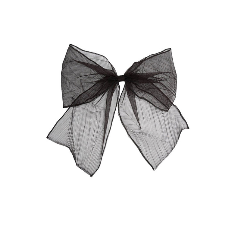Wicole Bow Clip, Pleated Black Tulle