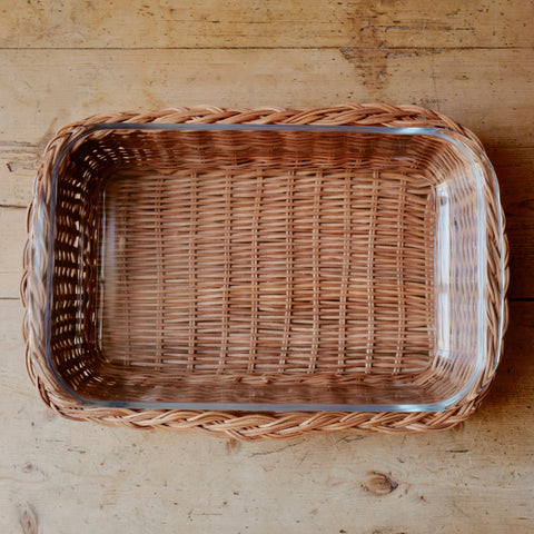 Braided Rattan Casserole Dish, Natural (Rectangle)