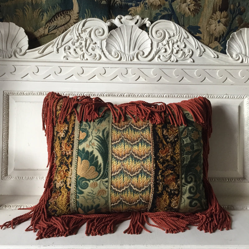 Vita, Antique Needlepoint and Embroidered Patchwork Vintage Fabric Cushion